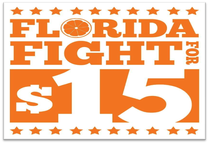 """Orange and white logo with the text """"Florida Fight for $15."""""""