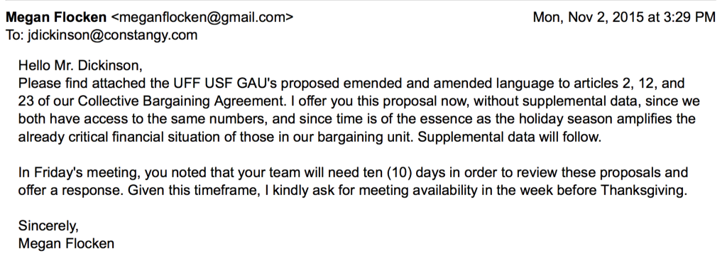 UFF USF GAU bargaining e-mail 11-2