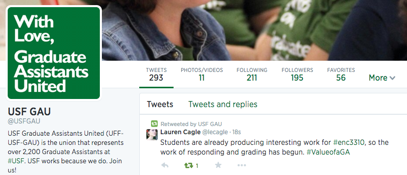 Screenshot of USF GAU twitter stream with #ValueofaGA tweet at the top of the Twitter stream.
