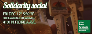 Image of a beer being drawn from a tap with text about the social's date, time, and location on top.
