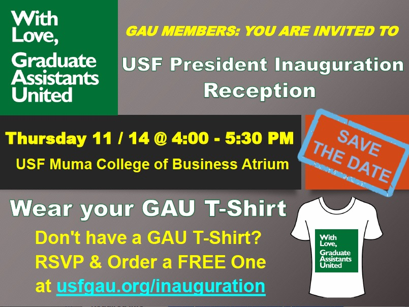 Flyer with information about new USF President Steve Currall's inauguration reception